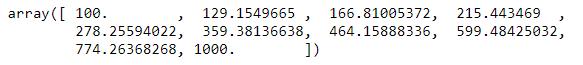 La función numpy.logspace
